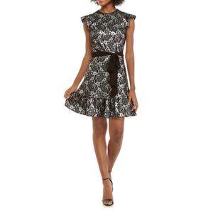 Michael Kors Foil Jacquard Flutter Sleeve Dress W